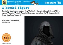 A hooded figure